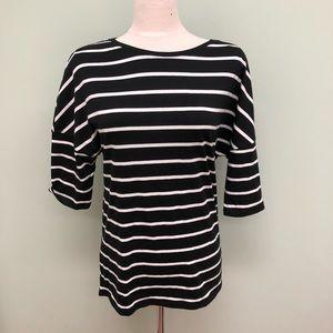 Jacob   Women's Striped Crewneck Shirt    Black